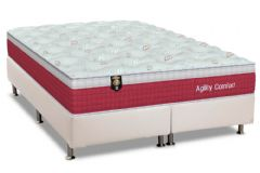 Conjunto Cama Box - Colchão Orthoflex de Molas Pocket Agility Confort Euro Pillow + Cama Box Universal Courino White